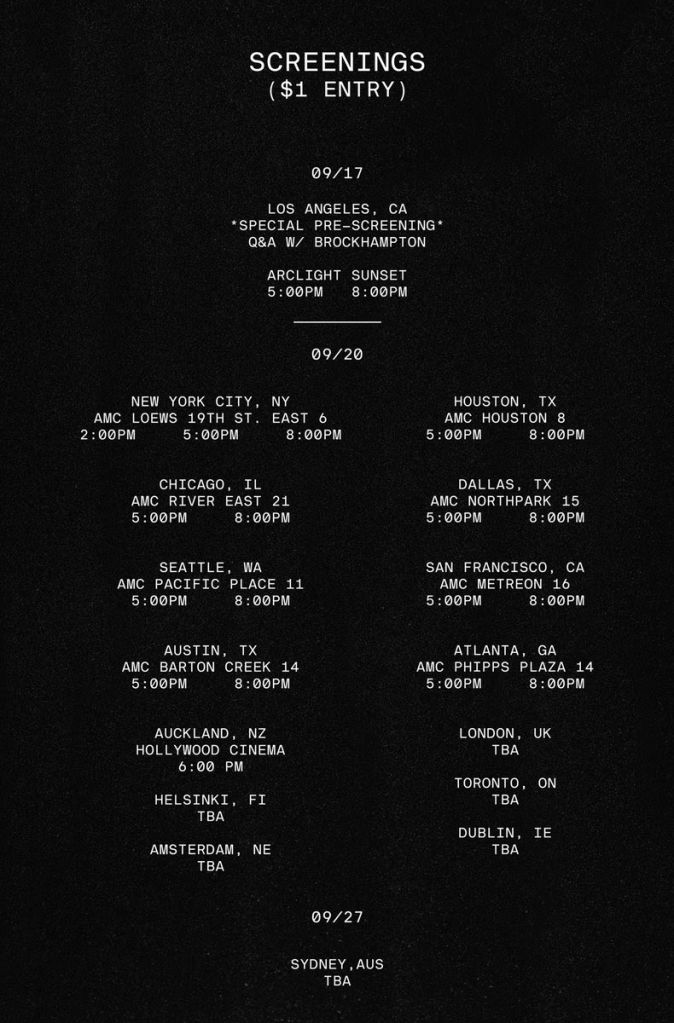 brockhampton the longest summer in america documentary screening schedule BROCKHAMPTON announce new documentary, The Longest Summer in America
