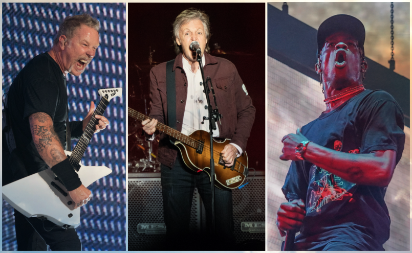 Metallica, Paul McCartney, Travis Scott, photos by Amy Price