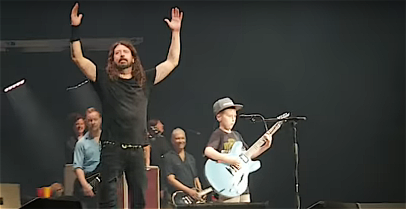 Foo Fighters with 7 yr old boy