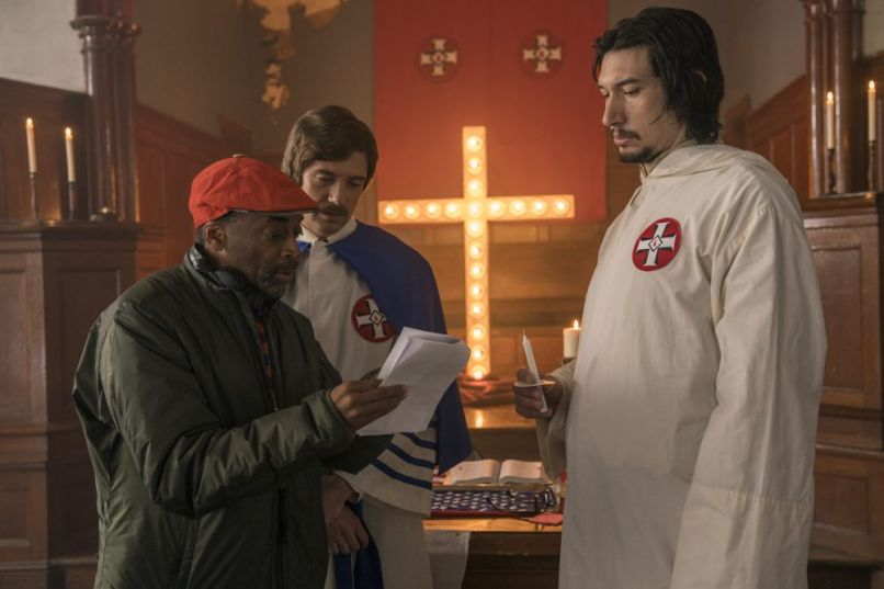 "Director Spike Lee, Topher Grace, and Adam Driver, ""BlacKkKlansman"", Focus Features"