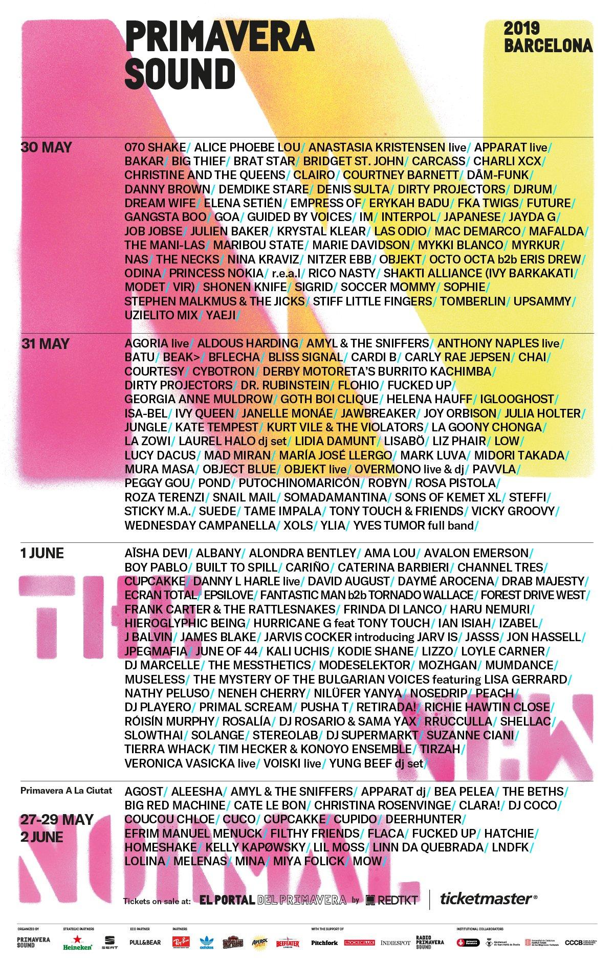 primavera sound 2019 lineup poster complete