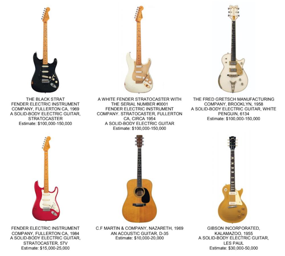 david gilmour guitars auction Christie's