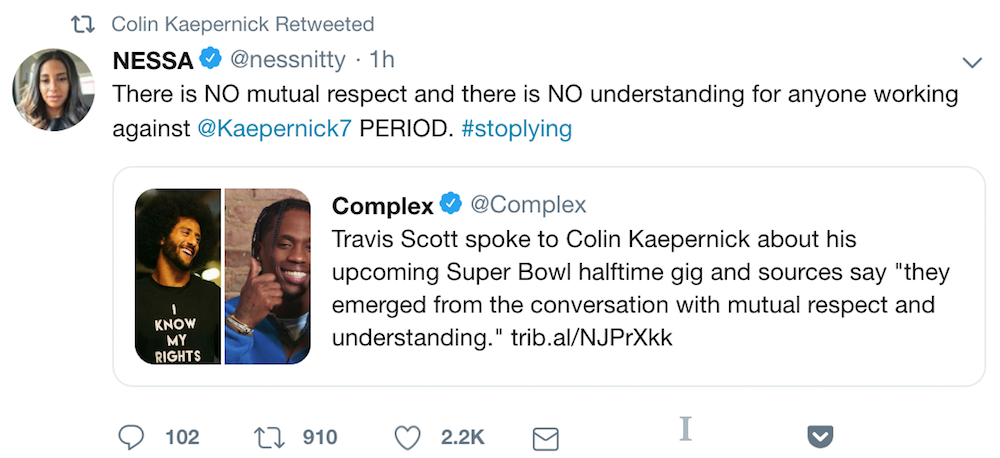 travis scott nessa kaepernick consult Colin Kaepernick did not sign off on Travis Scotts Super Bowl Halftime performance