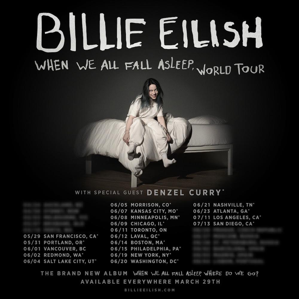 billie eilish when we all fall asleep tour dates 2019
