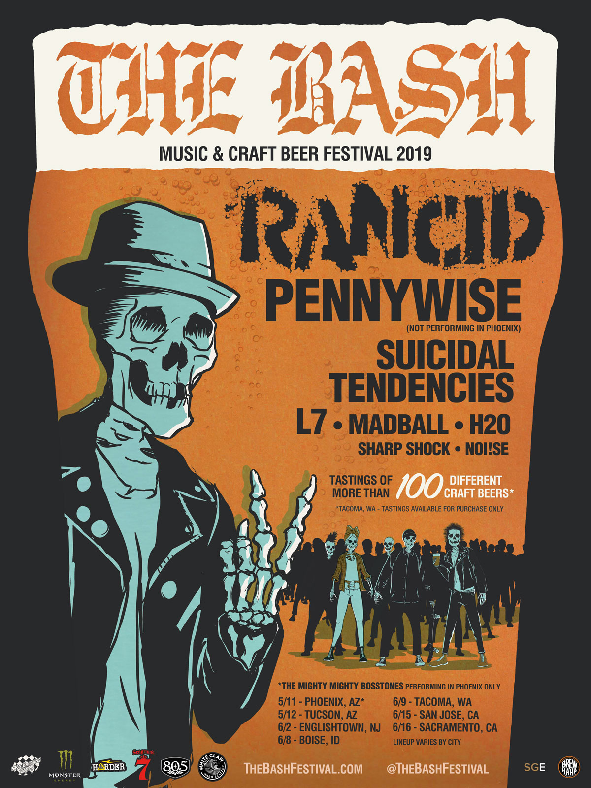 Rancid The Bash touring beer music festival poster