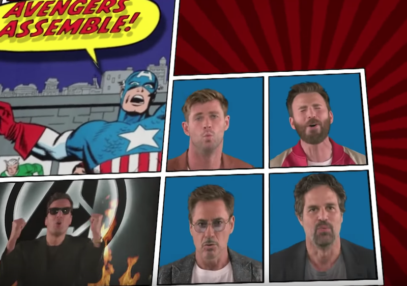 Avengers cast marvel cinematic universe the tonight show starring jimmy fallon billy joel we didn't start the fire