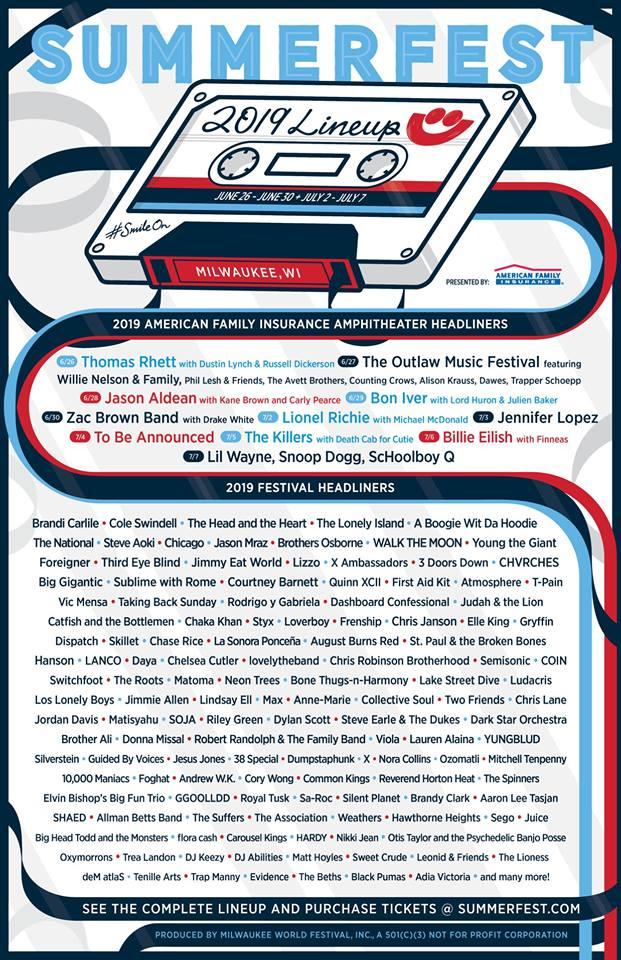 Summerfest 2019 lineup