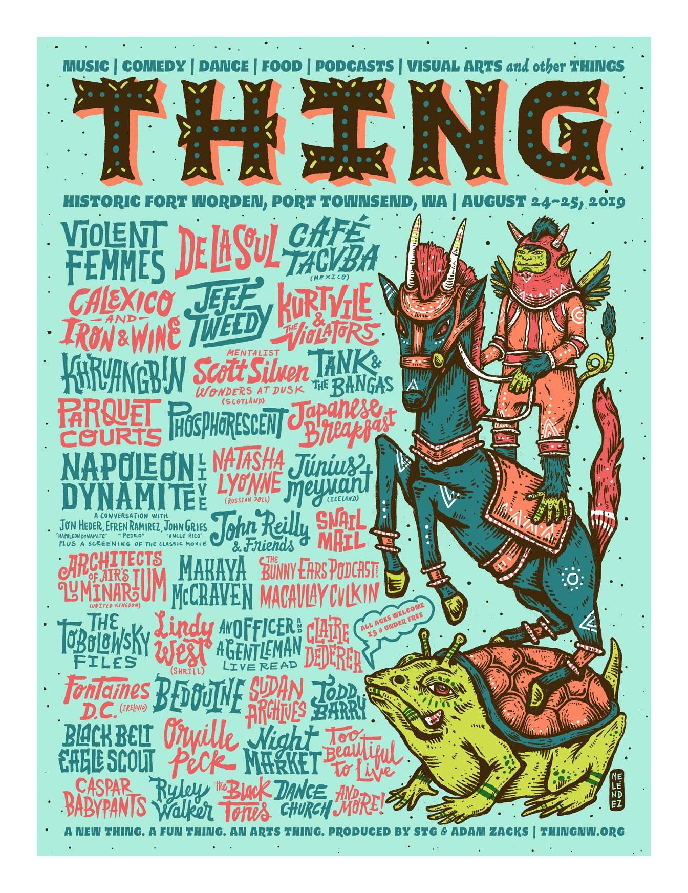 The Thing Music Festival Northwest Washington Adam Zacks lineup poster
