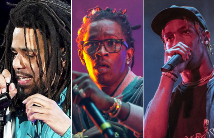 J Cole, Young Thug (Philip Cosores), and Travis Scott (Amy Price)