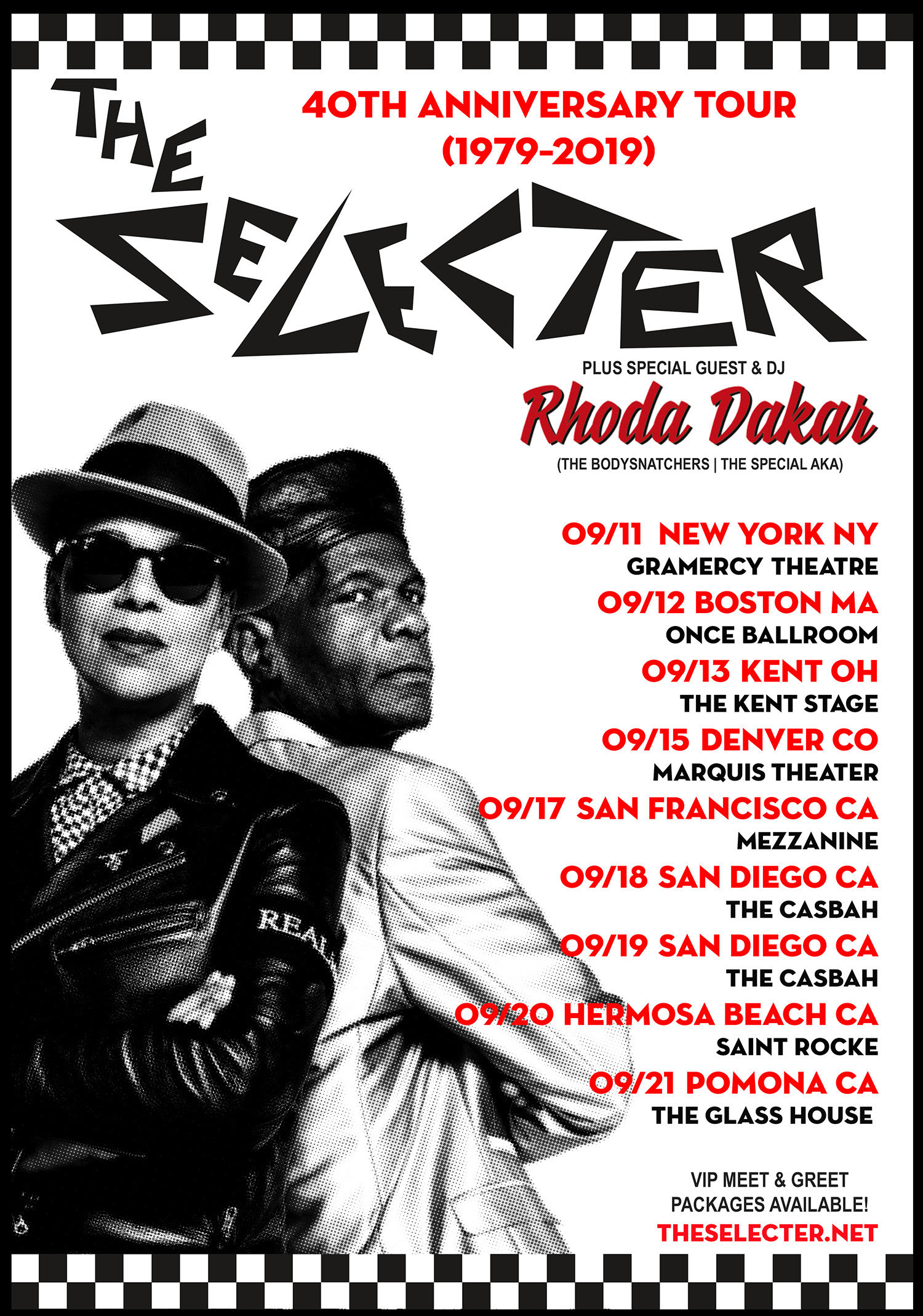The Selecter 40th anniversary tour 2019 tour poster