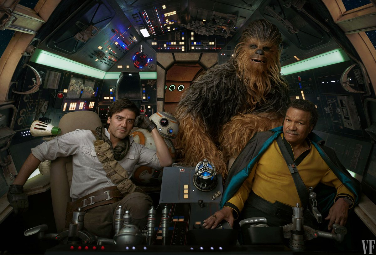 Lando Calrissian (Billy Dee Williams), Poe Dameron (Oscar Isaac), Chewbacca, D-O, and BB-8 in the Millennium Falcon in Star Wars: The Rise of Skywalker