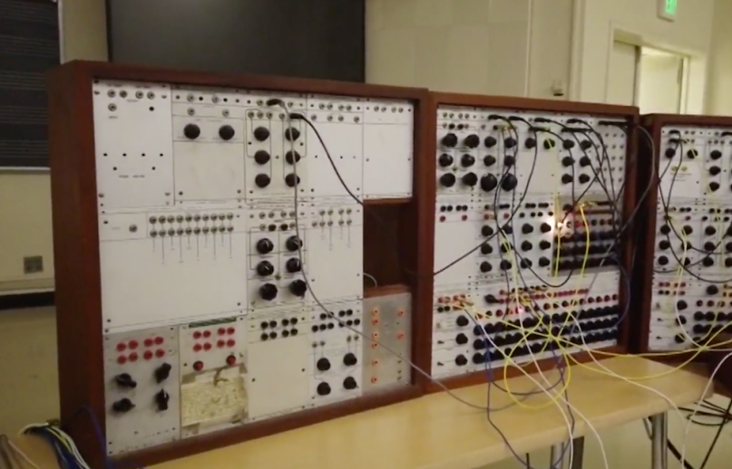 LSD '60s Acid Trip Accident Eliot Curtis Vintage Buchla Model 100 modular synthesizer from Cal State University, photo via KPIX 5