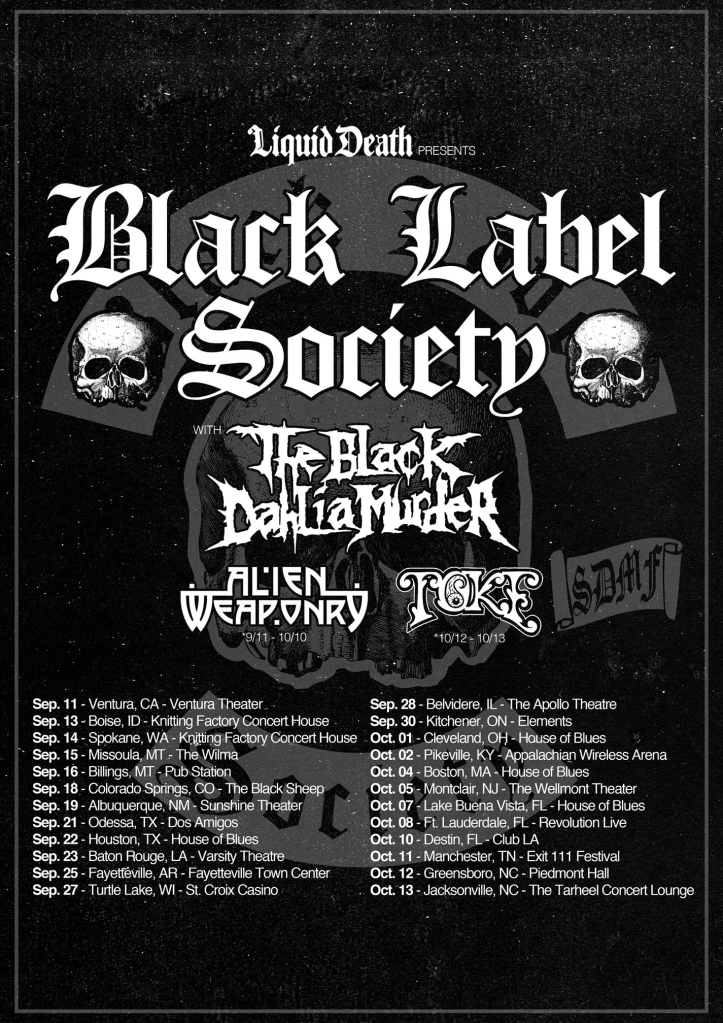 Black Label Society fall 2019 tour poster