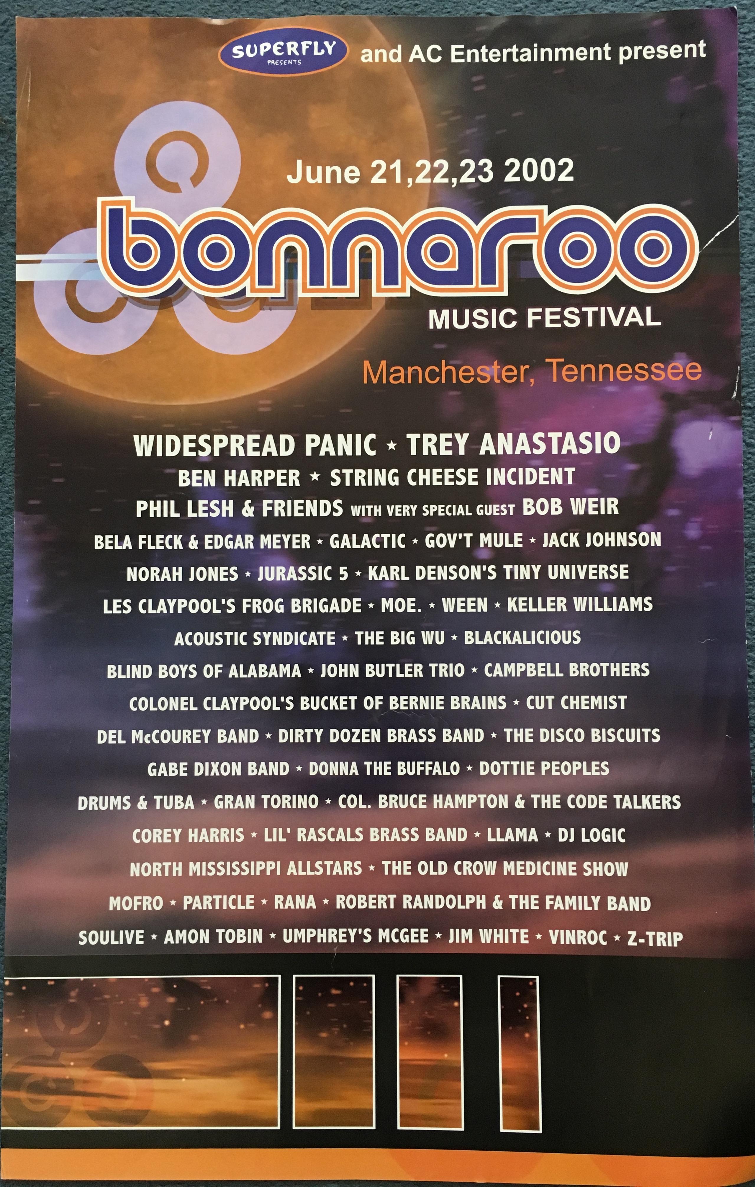 Bonnaroo 2002 Lineup Poster
