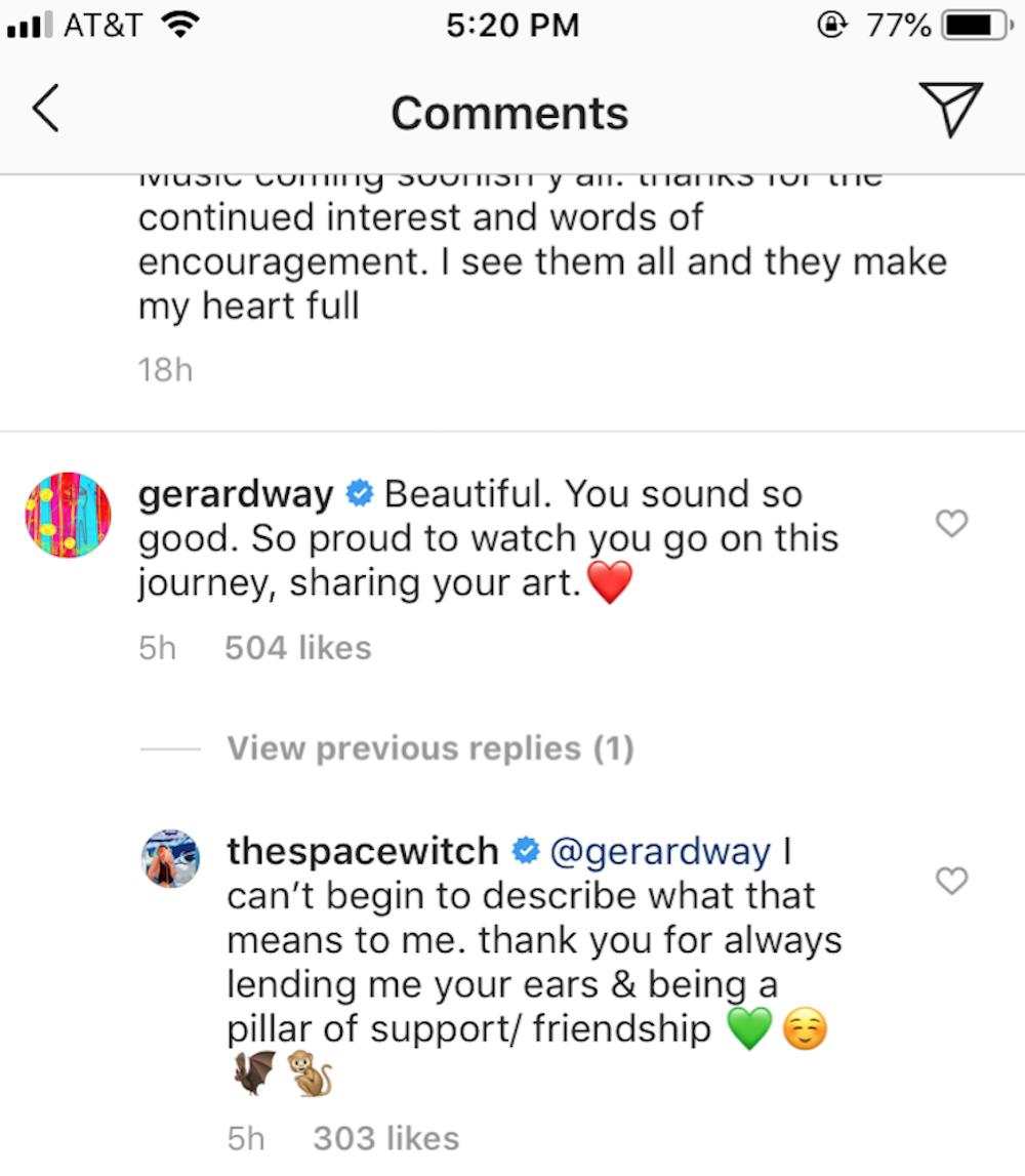 frances bean cobain new song gerard way instagram