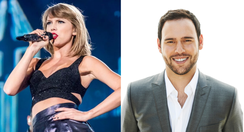 Taylor Swift (photo by David Brendan Hall) and Scooter Braun