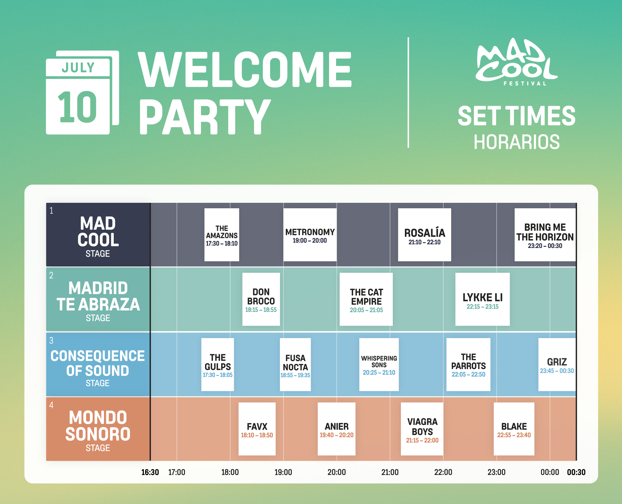 mad cool stage lineup 2019 wednesday