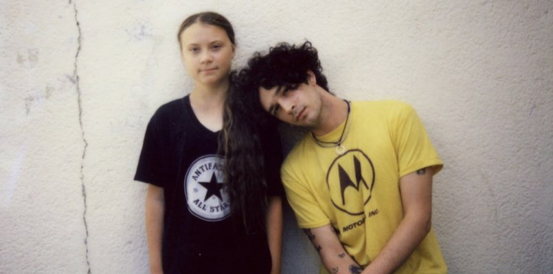 Greta Thunberg and The 1975's Matty Healy, photo by Jordan Hughes new song notes on a conditional form