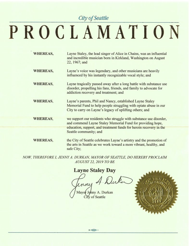 Layne Staley Day Proclamation