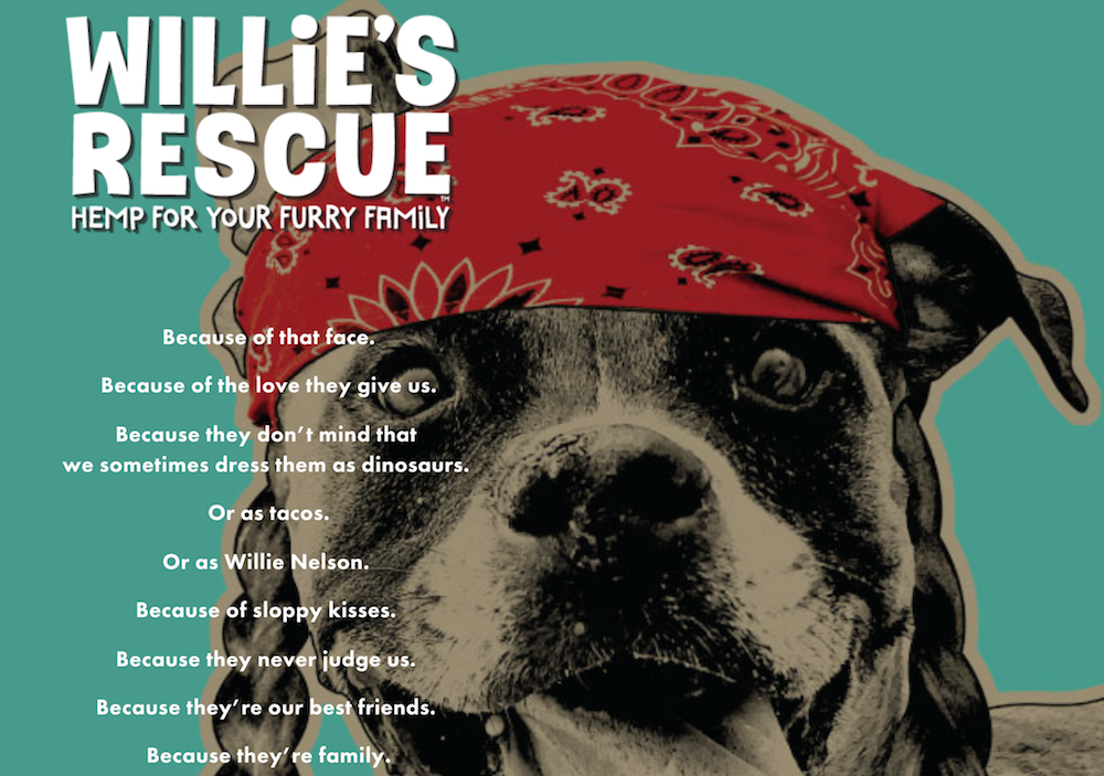 willies rescue cbd pets dog hemp Willie Nelson launches CBD product line for pets