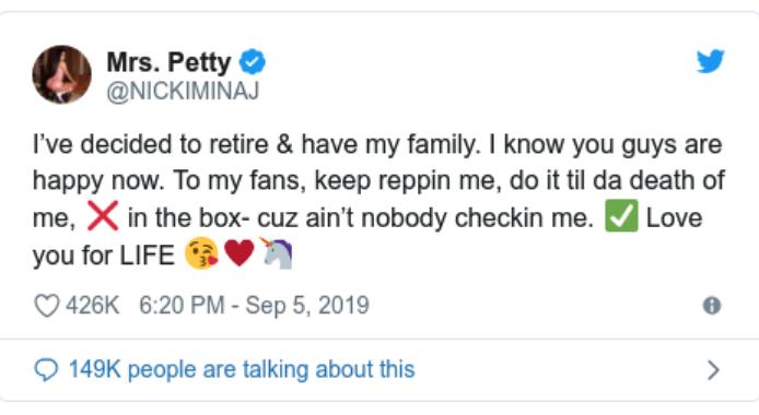 Minaj retirement tweet