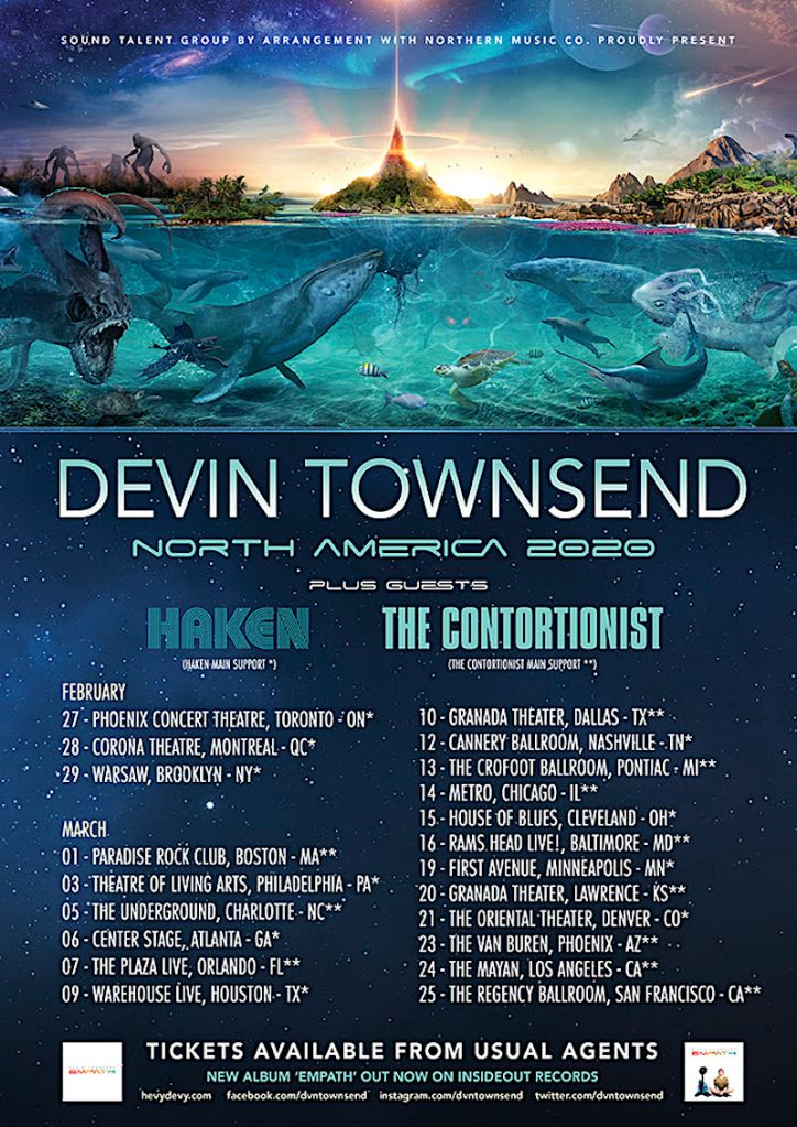 Devin Townsend 2020 Tour poster