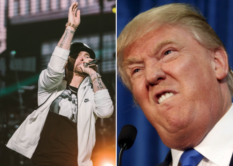 Eminem (photo by Natalie Somekh) and President Donald Trump secret service freedom of information investigation interview the ringer