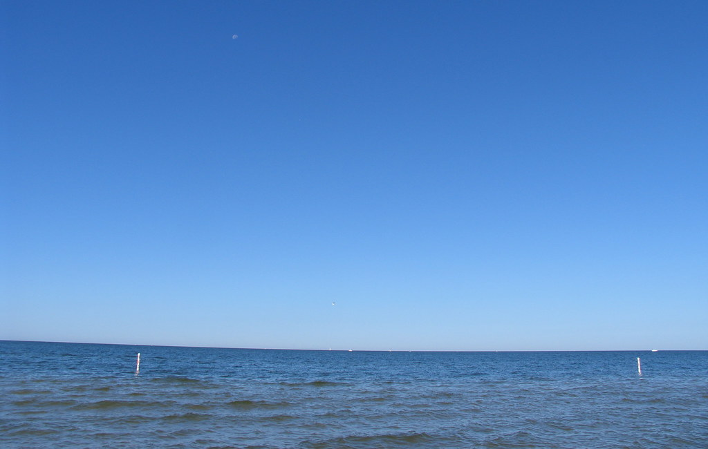 blue sky over lake michigan