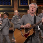 "Jimmy Fallon performance ""Road to Nowhere"" interview David Byrne and the American Utopia Broadway cast"
