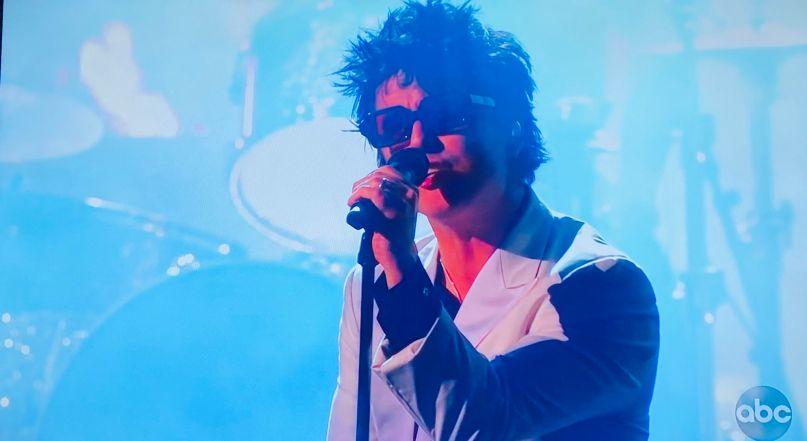 Green Day performing at the AMAs