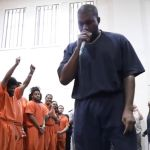 Kanye performing at Houston jail