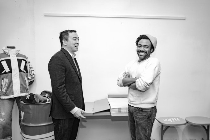 Andrew Yang with Donald Glover
