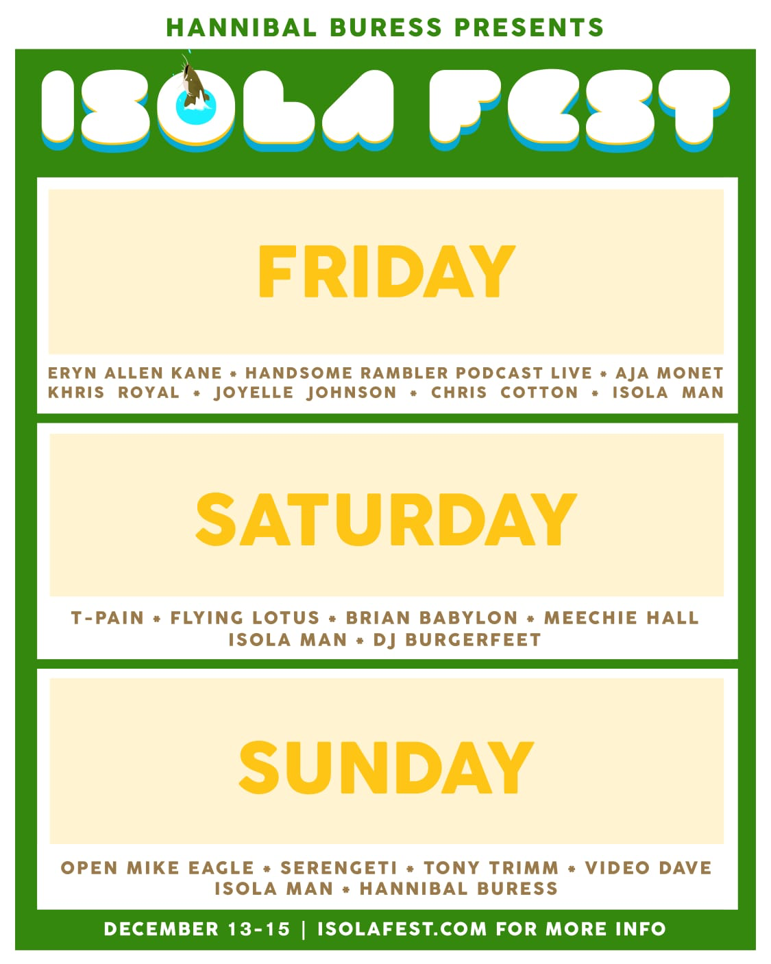 Hannibal Buress Isola Fest lineup