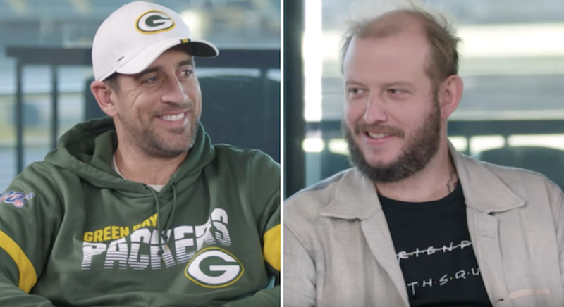Justin Vernon Bon Iver Aaron Rodgers interview conversation gq sports social