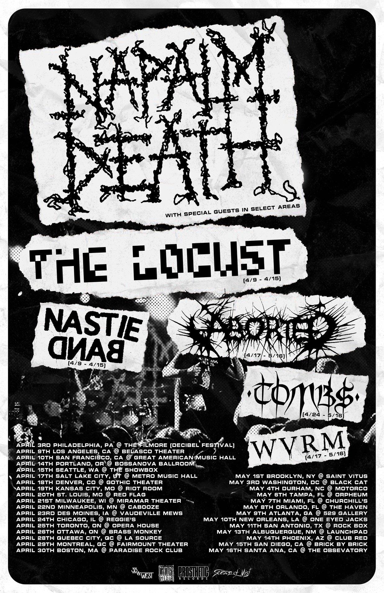 Napalm Death 2020 tour poster