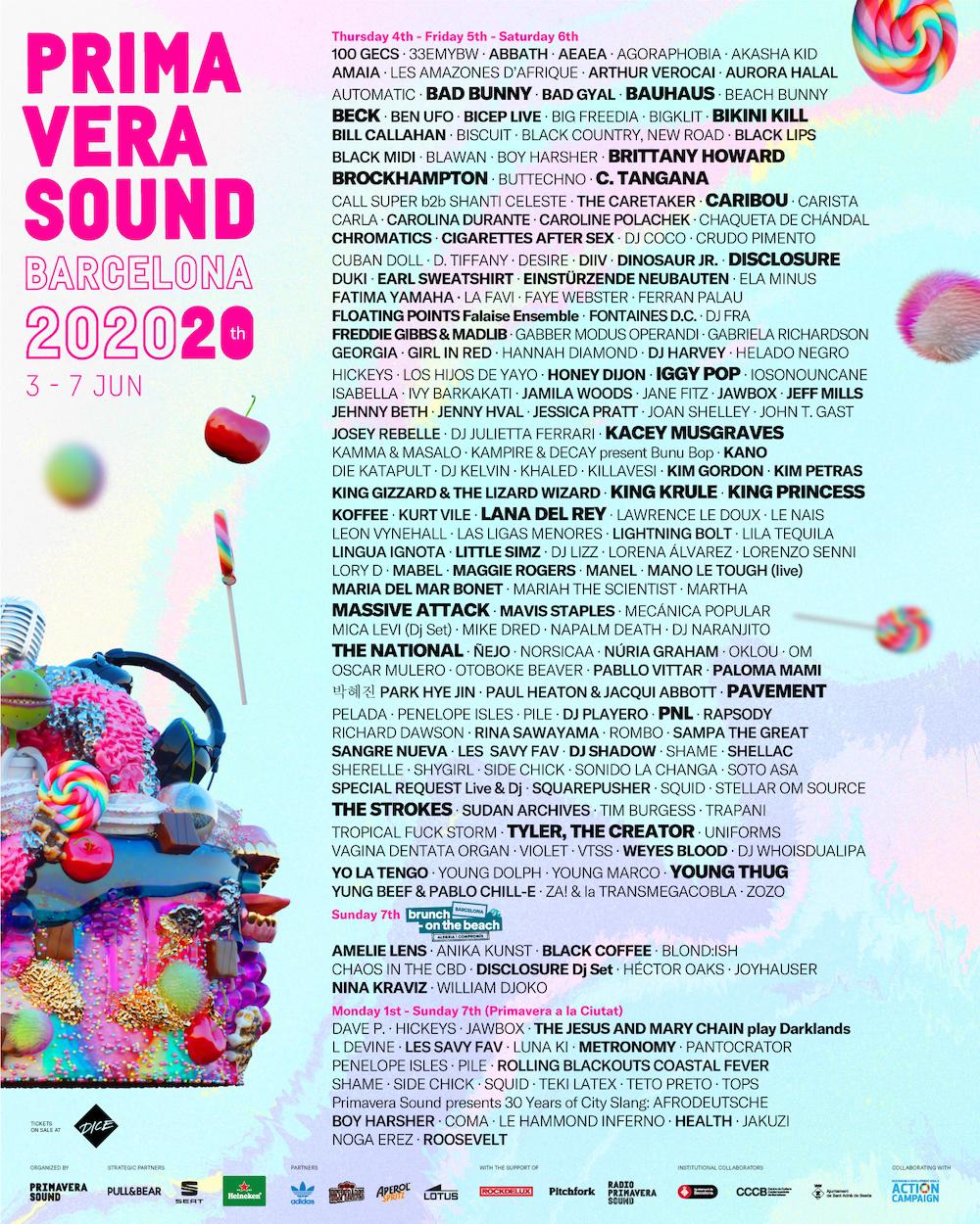 Primavera Sound barcelona 2020 20th anniversary lineup poster
