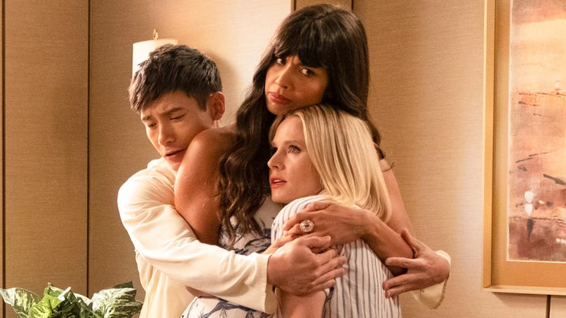 The Good Place Series Finale Left us with all the right questions Eleanor (Kristen Bell), Tahani (Jameela Jamil), and Jason (Manny Jacinto) in The Good Place (NBC)
