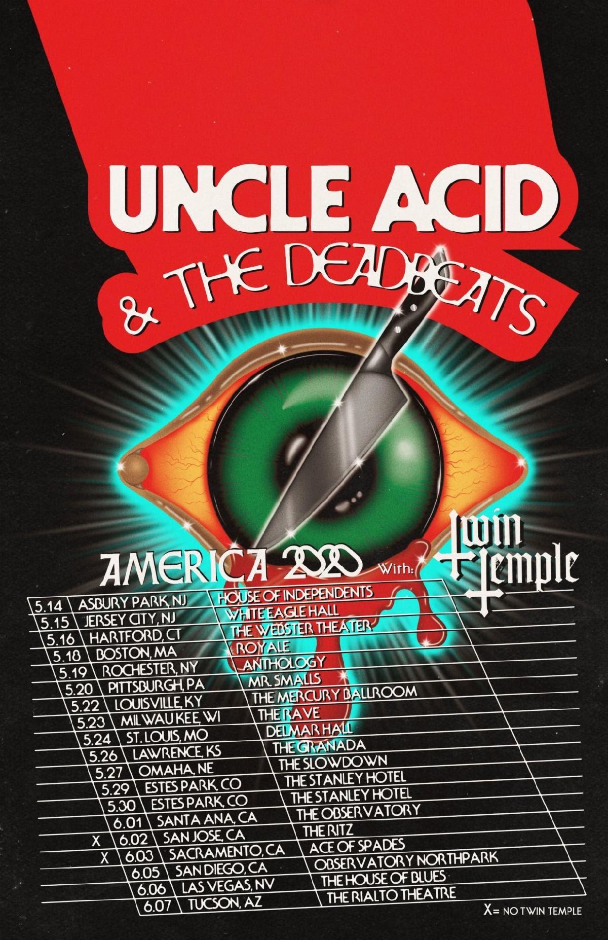 Uncle Acid 2020 US Tour Poster