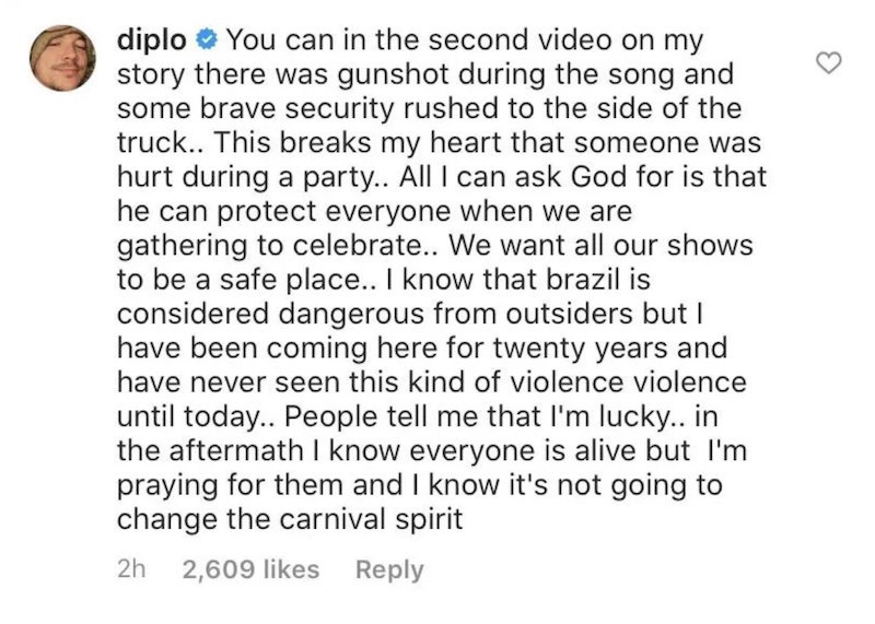 diplo comment instagram shooting Diplos Concert in Brazil Cut Short by Shooting