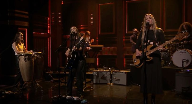 HAIM perform on Fallon