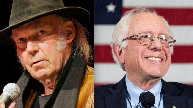 Neil Young (photo by Ryan Peterman) and Bernie Sanders endorsements celebrity musician endorsement