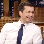 Pete Buttigieg Jimmy Kimmel Live host Patrick Stewart, courtesy of NBC