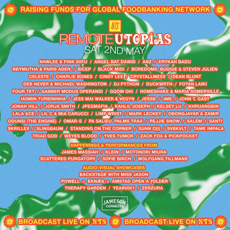 Remote Utopias livestream poster Tame Impala NTS Erykah Badu Skrillex Sunn O))) Four Tet