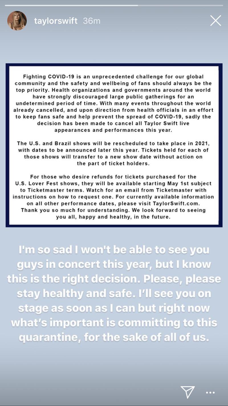 taylor swift statement cancel tour dates 2020 coronavirus Taylor Swift Cancels All 2020 Tour Dates Due to COVID 19