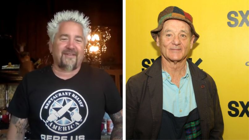 Guy Fieri (NBC) and Bill Murray (Heather Kaplan) Guy Fieri nachos Bill Murray son contest livestream charity Shaquille O'Neal Terry Crews Food Network