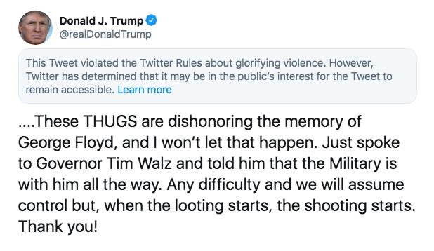 Trump tweet violating rules 2