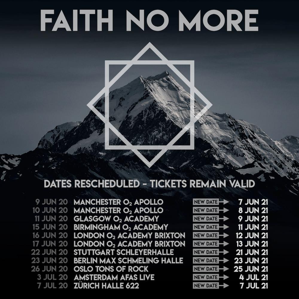 faith no more 2021 tour dates europe reschedule Faith No More Reschedule European Comeback Tour for 2021 Due to Coronavirus