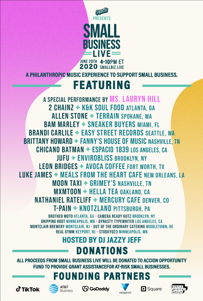 small biz live concert stream video lineup Ms. Lauryn Hill, Brittany Howard, Leon Bridges, and More Play Small Biz Live Concert: Watch