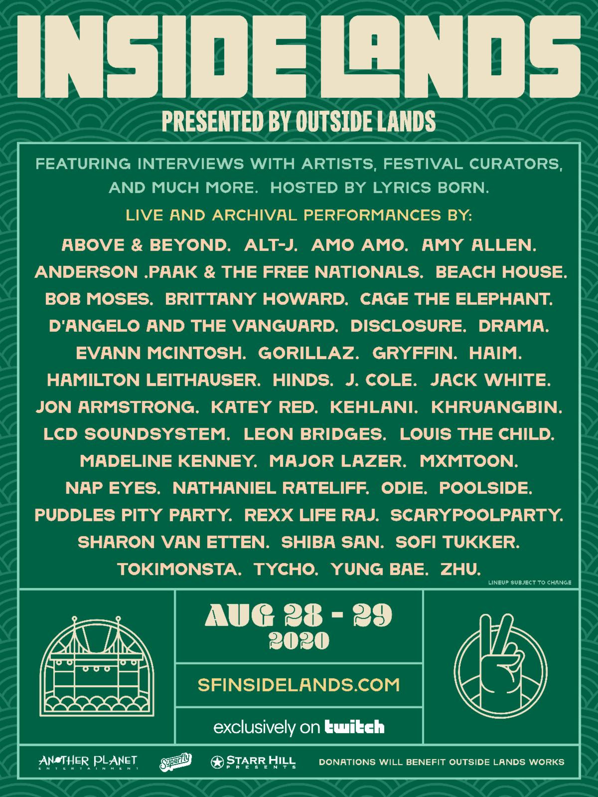 outside lands inside lands virtual livestream festival lineup poster 2020