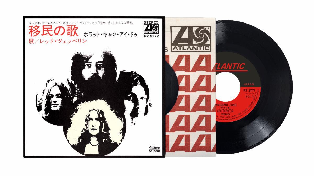 led zeppelin immigrant song japanese 7 inch vinyl single reissue artwork